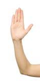 Mano del ` s della donna con il gesto di arresto Fotografia Stock Libera da Diritti