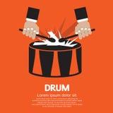 Mano del tambor y del batería. ilustración del vector