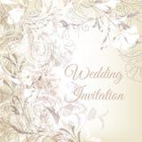 Mano del vector dibujada casandose diseño de la invitación en el st floral clásico Imagenes de archivo