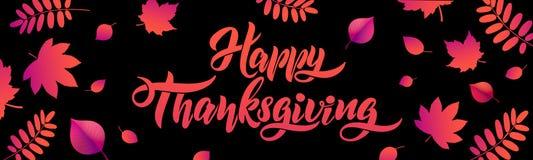 Mano del vector dibujada poniendo letras al cartel feliz de la tipografía de la acción de gracias con las hojas caidas en fondo n ilustración del vector