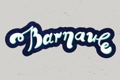 Mano del vector que pone letras a Barnaul en fondo gris stock de ilustración