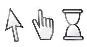 mano y cursor de la flecha con reloj de arena Fotografía de archivo