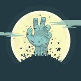 Mano del zombi del vector que sube del sepulcro Imágenes de archivo libres de regalías