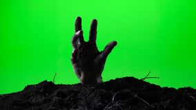 Mano del zombi que emerge del sepulcro de tierra Concepto de Víspera de Todos los Santos Pantalla verde 015 almacen de metraje de vídeo