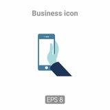 Mano dell'icona con il telefono Immagine Stock