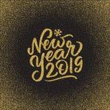 Mano 2019 dell'oro del buon anno scritta segnando testo con lettere, illustrazione vettoriale