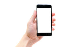 Mano dell'uomo con derisione del telefono su immagine stock libera da diritti