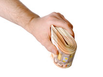 Mano dell'uomo con l'euro isolato su bianco Fotografia Stock Libera da Diritti