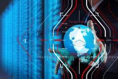 Mano dell'uomo d'affari che funziona con il globo 3d con il diag di calcolo della nuvola Immagini Stock Libere da Diritti