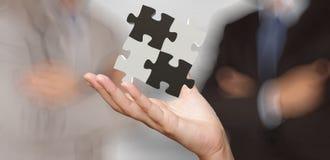 Mano dell'uomo d'affari che mostra il segno di associazione di puzzle 3d Immagine Stock