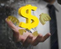 Mano dell'uomo d'affari che mostra simbolo di dollaro con gli euro simboli Fotografia Stock Libera da Diritti