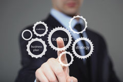 Mano dell'uomo d'affari che spinge il bottone di successo su un'interfaccia del touch screen Affare, concetto di tecnologia Fotografie Stock Libere da Diritti