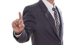 Mano dell'uomo d'affari che spinge schermo Fotografia Stock