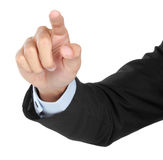Mano dell'uomo d'affari che spinge schermo virtuale Fotografia Stock Libera da Diritti
