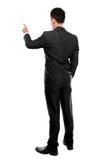 Mano dell'uomo d'affari che spinge schermo virtuale Fotografia Stock