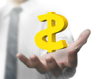 Mano dell'uomo d'affari che tiene i simboli di dollaro dorati 3D Fotografia Stock Libera da Diritti