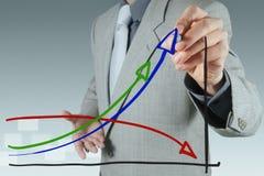 Mano dell'uomo d'affari che traccia un diagramma a torta Immagini Stock