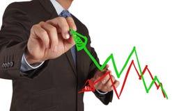 Mano dell'uomo d'affari che traccia un diagramma a torta Immagini Stock Libere da Diritti
