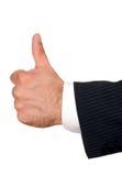 Mano dell'uomo d'affari con i pollici in su Fotografia Stock Libera da Diritti