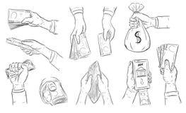 Mano dell'uomo di affari per tenere soldi Fotografia Stock Libera da Diritti
