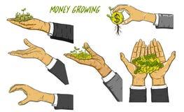 Mano dell'uomo di affari per tenere soldi Immagine Stock