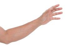 Mano dell'uomo isolata su fondo bianco Fotografie Stock Libere da Diritti