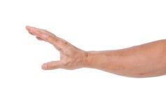 Mano dell'uomo isolata su fondo bianco Fotografia Stock Libera da Diritti