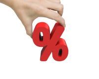 Mano della donna che tiene il segno di percentuale 3D Immagine Stock