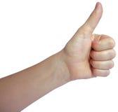 Mano con il pollice su isolato su fondo bianco Fotografia Stock Libera da Diritti