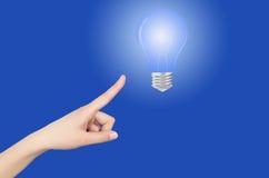 Mano della lampadina Immagine Stock