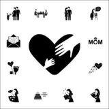 mano della madre e del bambino nell'icona del cuore Insieme universale delle icone di festa della Mamma per il web ed il cellular illustrazione di stock