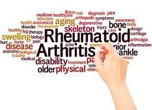 Mano della nuvola di parola di artrite reumatoide che scrive concetto illustrazione di stock