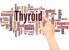 Mano della nuvola di parola della tiroide che scrive concetto immagine stock