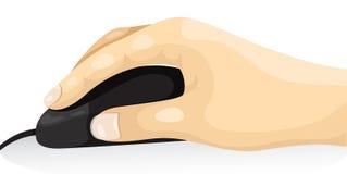 Mano della parte del corpo facendo uso del topo Immagine Stock