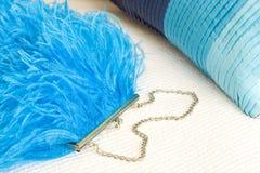 Mano della piuma dello struzzo del turchese Fotografia Stock