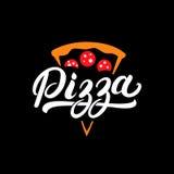 Mano della pizza scritta segnando logo con lettere, etichetta, distintivo Fotografia Stock Libera da Diritti