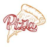 Mano della pizza scritta segnando logo con lettere, etichetta, distintivo Emblema per veloce Immagini Stock
