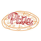 Mano della pizza scritta segnando logo con lettere, etichetta, distintivo Emblema per veloce Immagine Stock