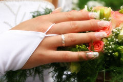 Mano della sposa Fotografie Stock