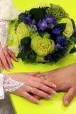 Mano della sposa e la mano del ` s dello sposo con gli anelli insieme immagini stock libere da diritti