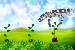 Mano delle piante del robot Immagini Stock