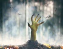 Mano delle zombie che aumenta dalla tomba immagine stock libera da diritti