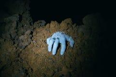 Mano dello zombie che esce dalla sua tomba Immagini Stock