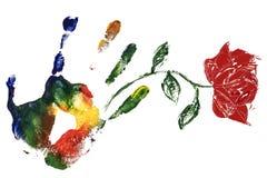 Mano derecha con el estampado de flores color de rosa del aguazo Imágenes de archivo libres de regalías