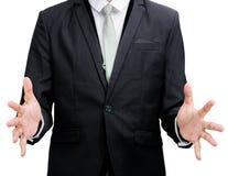 Mano derecha de la demostración de la postura del hombre de negocios aislada Fotos de archivo libres de regalías