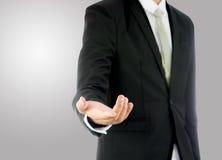 Mano derecha de la demostración de la postura del hombre de negocios aislada Foto de archivo libre de regalías