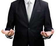 Mano derecha de la demostración de la postura del hombre de negocios aislada Imagenes de archivo