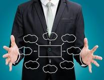 Mano derecha de la postura del hombre de negocios que lleva a cabo la ISO del organigrama de la estrategia imágenes de archivo libres de regalías