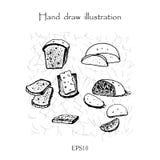 Mano determinada del pan que dibuja el ejemplo monocromático Fotografía de archivo