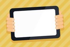Mano detr?s de la tableta del color que sostiene el artilugio de la pantalla en blanco que hace frente a la audiencia Smartphone  ilustración del vector